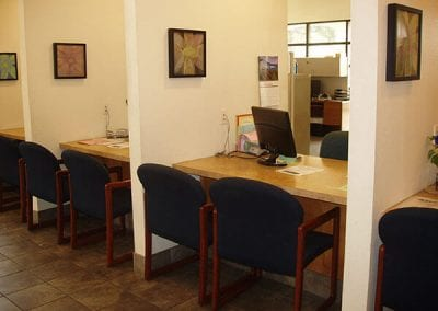 Tracy Interfaith Ministries desk area to meet with clients